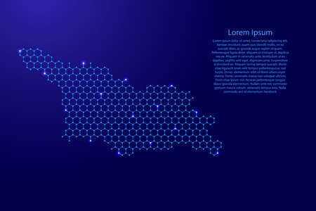 Georgia country map from futuristic hexagonal shapes, lines, points  blue and glowing stars in nodes, form of honeycomb or molecular structure for banner, poster, greeting card. Vector illustration.
