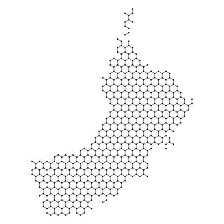 Oman map from abstract futuristic hexagonal shapes, lines, points black, in the form of honeycomb or molecular structure. Vector illustration.