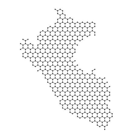 Peru map from abstract futuristic hexagonal shapes, lines, points black, in the form of honeycomb or molecular structure. Vector illustration.