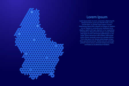 Luxembourg map abstract schematic from blue triangles repeating pattern geometric background with nodes and space stars for banner, poster, greeting card. Vector illustration. Stock Illustratie