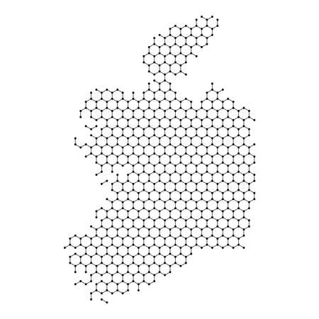 Republic of Ireland map from abstract futuristic hexagonal shapes, lines, points black, in the form of honeycomb or molecular structure. Vector illustration.