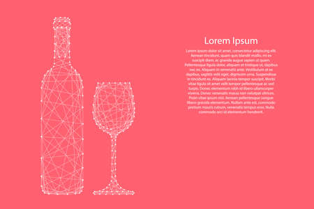 Wine bottle and glass from abstract futuristic polygonal white lines and dots on pink rose color coral background for banner, poster, greeting card. Vector illustration.