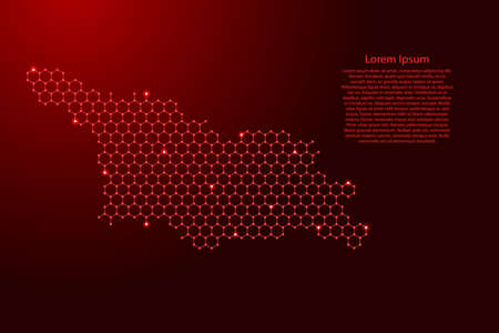 Georgia country map from futuristic hexagonal shapes, lines, points red and glowing stars in nodes, form of honeycomb or molecular structure for banner, poster, greeting card. Vector illustration.