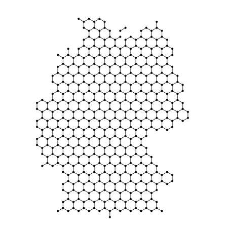 Germany map from abstract futuristic hexagonal shapes, lines, points black, in the form of honeycomb or molecular structure. Vector illustration. Stock Illustratie