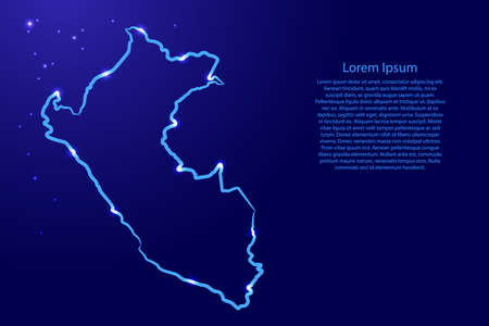 Peru map from the contour blue brush lines different thickness and glowing stars on dark background. Vector illustration.
