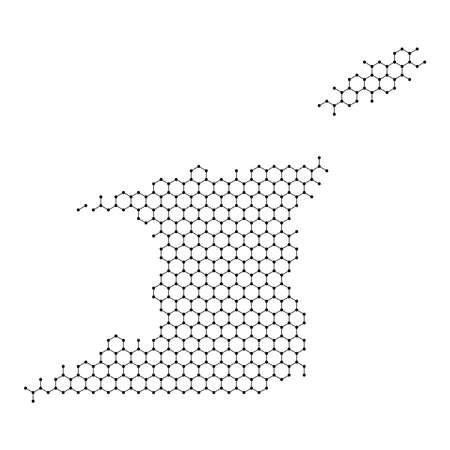 Trinidad and Tobago map from abstract futuristic hexagonal shapes, lines, points black, form of honeycomb or molecular structure. Vector illustration.