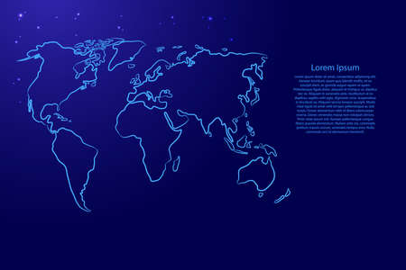 World map from the contour blue brush lines different thickness and glowing stars on dark background. Vector illustration.