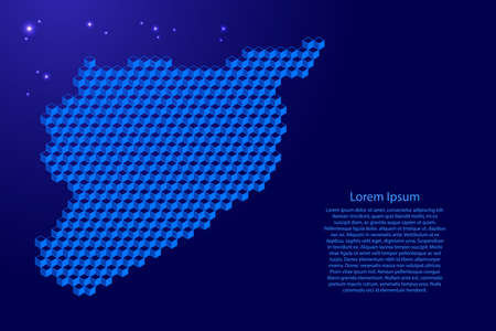 Syria map from 3D blue cubes isometric abstract concept, square pattern, angular geometric shape, glowing stars. Vector illustration. Stock Illustratie