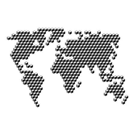 World map from 3D black cubes isometric abstract concept, square pattern, angular geometric shape. Vector illustration.