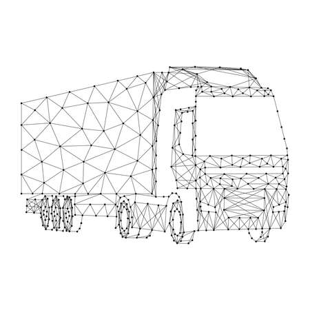 Cargo truck with semi-trailer from abstract futuristic polygonal black lines and dots. Vector illustration. Stock Illustratie