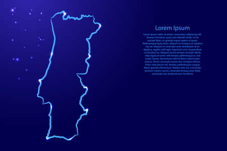 Portugal map from the contour blue brush lines different thickness and glowing stars on dark background. Vector illustration. Stock Illustratie