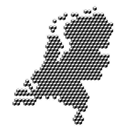 Netherlands map from 3D black cubes isometric abstract concept, square pattern, angular geometric shape. Vector illustration. Stock Illustratie