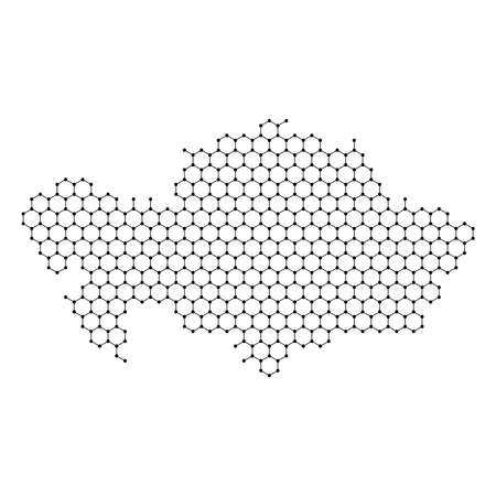 Kazakhstan map from abstract futuristic hexagonal shapes, lines, points black, in the form of honeycomb or molecular structure. Vector illustration. Stock Illustratie