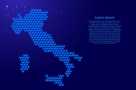 Italy map from 3D blue cubes isometric abstract concept, square pattern, angular geometric shape, glowing stars. Vector illustration. Stock Illustratie