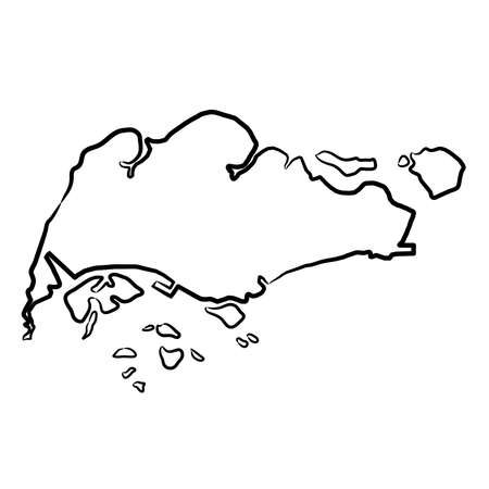 Singapore map from the contour black brush lines different thickness on white background. Vector illustration.