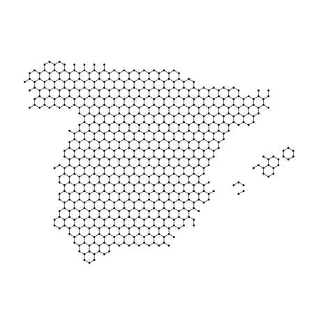 Spain map from abstract futuristic hexagonal shapes, lines, points black, form of honeycomb or molecular structure. Vector illustration.