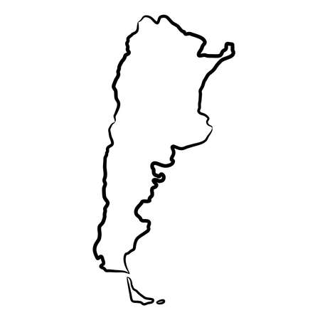 Argentina map from the contour black brush lines different thickness on white background. Vector illustration.