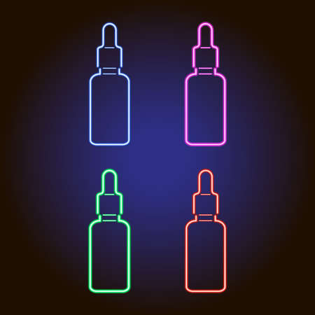 Flacon with a pipette in a stopper with a medical liquid, or with CBD oil from glowing blue, red, pink and green neon luminescence lines on classic blue dark background. Vector illustration. Set of parts.