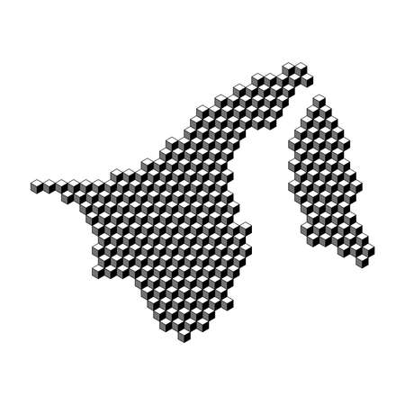 Brunei Darussalam map from 3D black cubes isometric abstract concept, square pattern, angular geometric shape. Vector illustration.
