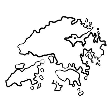 Hong Kong map from the contour black brush lines different thickness on white background. Vector illustration. 向量圖像