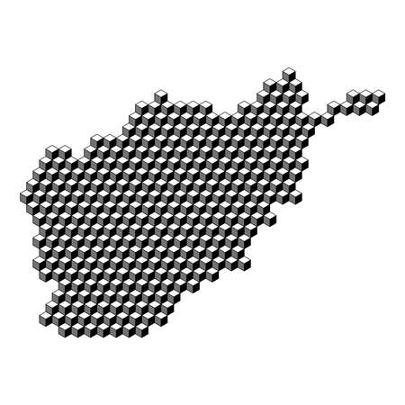 Afghanistan map from 3D black cubes isometric abstract concept, square pattern, angular geometric shape. Vector illustration.