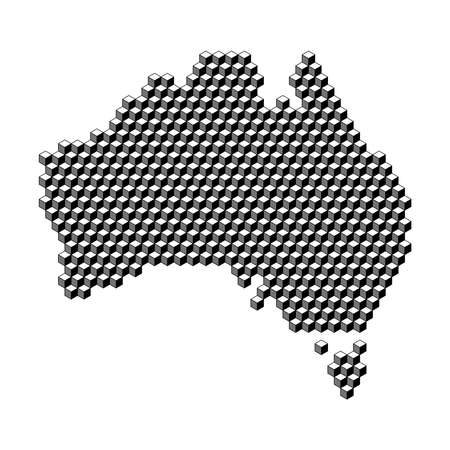 Australia map from 3D black cubes isometric abstract concept, square pattern, angular geometric shape. Vector illustration.
