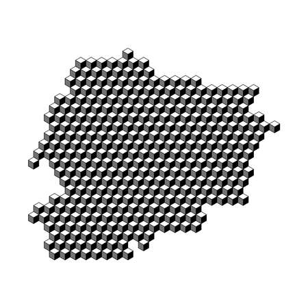 map from 3D black cubes isometric abstract concept, square pattern, angular geometric shape. Vector illustration. Stock Illustratie