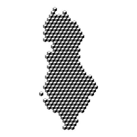 Albania map from 3D black cubes isometric abstract concept, square pattern, angular geometric shape. Vector illustration.