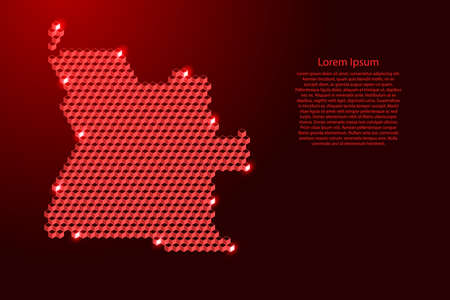 Angola map from 3D red cubes isometric abstract concept, square pattern, angular geometric shape, for banner, poster. Vector illustration. Stock Illustratie