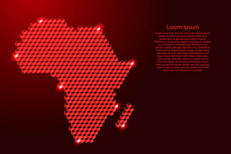 Africa mainland map from 3D red cubes isometric abstract concept, square pattern, angular geometric shape, for banner, poster. Vector illustration.