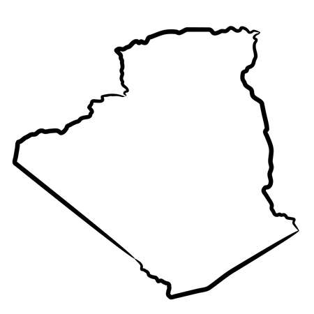 Algeria map from the contour black brush lines different thickness on white background. Vector illustration.