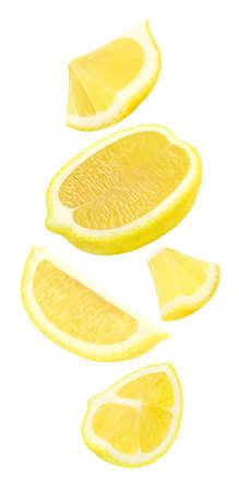 Lemon slices cut fall, soar, flying isolated on white 版權商用圖片