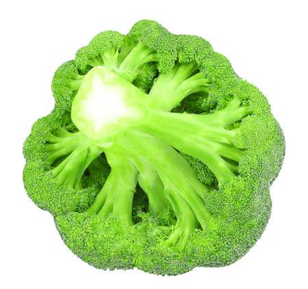 Broccoli bud fresh green vegetable isolated on white background