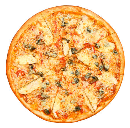 Pizza with cheese, tomatoes, mushrooms and chicken isolated on white background 版權商用圖片