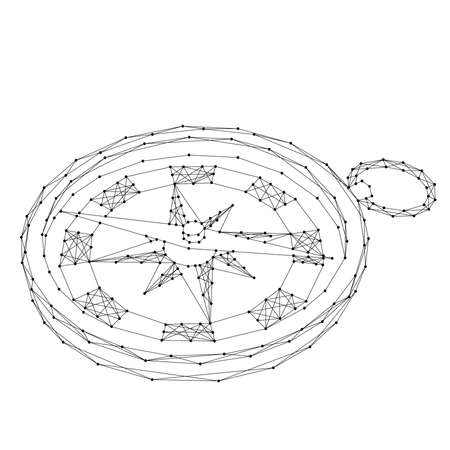 Compass for navigation and orientation to the cardinal directions from abstract futuristic polygonal black lines and dots. Vector illustration.