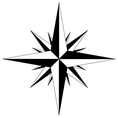 Wind rose with intermediate points compass star navigation. Vector illustration. 向量圖像