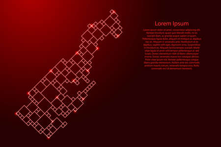 Monaco map from red pattern from a grid of squares of different sizes and glowing space stars. Vector illustration. 向量圖像