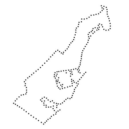 Monaco map abstract schematic from the black dots along the perimeter. Vector illustration. 向量圖像