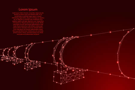 Oil or gas pipeline, concept petroleum fuel industry transportation from futuristic polygonal red lines and glowing stars for banner, poster, greeting card. Vector illustration.
