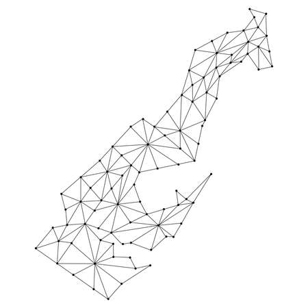 Monaco map of polygonal futuristic mosaic lines network, rays and dots. Vector illustration.