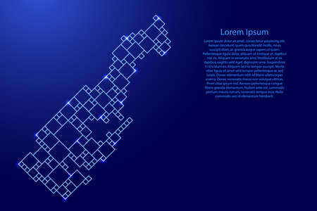 Monaco map from blue pattern from a grid of squares of different sizes and glowing space stars. Vector illustration. Illustration