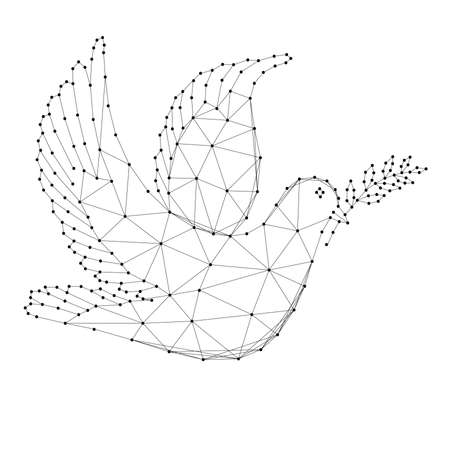Dove with branch - symbol of international day of peace, from abstract futuristic polygonal black lines and dots. Vector illustration.
