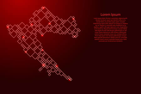 Croatia map from red pattern from a grid of squares of different sizes and glowing space stars. Vector illustration.