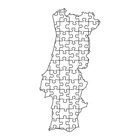 Portugal map from black puzzles set jigsaw parts mosaic grid. Vector illustration.