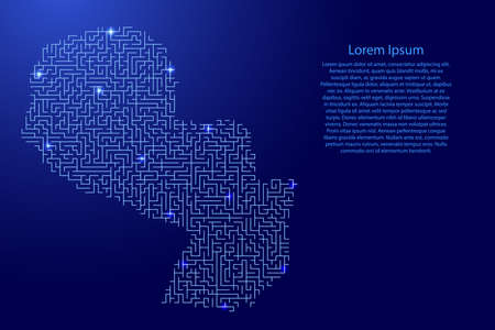 Paraguay map from blue pattern of the maze grid and glowing space stars grid. Vector illustration.