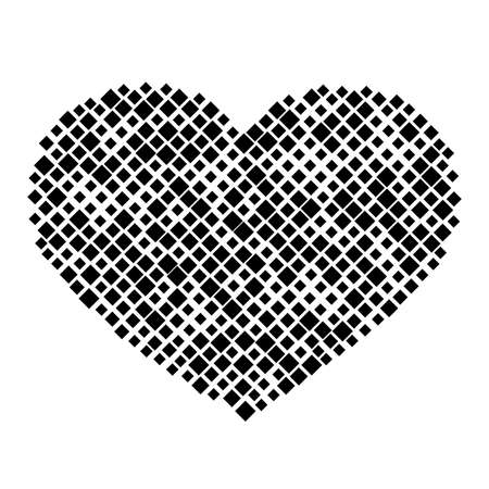 Heart is a symbol of love for Valentine's Day from pattern of black rhombuses of different sizes. Vector illustration. Vectores