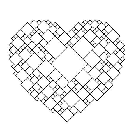 Heart is a symbol of love for Valentine's Day from black pattern from a grid of squares of different sizes. Vector illustration.