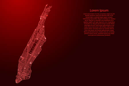 Manhattan map of red lines of automobile roads different thickness and glowing stars on dark background. Vector illustration.