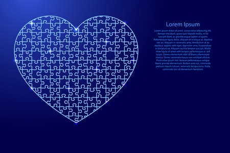 Heart is a symbol of love for Valentine's Day from puzzles blue line and glowing space stars parts mosaic grid. Vector illustration. Vectores