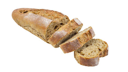 Bread sliced, dark, long loaf isolated on a white background, element of packaging design.